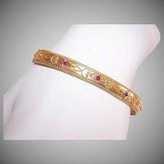 ANTIQUE EDWARDIAN 15K Gold Bracelet - Cuff, Bangle, Etruscan Revival, Ruby, Natural Pearl