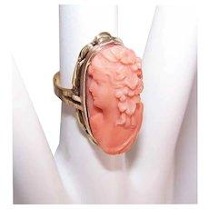 Vintage 10K GOLD Ring - Orange Coral, Cameo, Lovely Lady, Size 4.25