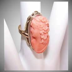 Vintage 10K GOLD Ring - Orange Coral, Cameo, Lovely Lady, Size 4.25