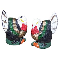 THANKSGIVING Decorations - Pair, Plastic, Colored, Turkey, Stand Up, Ornaments