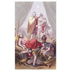VICTORIAN COLOR PRINT - Book Illustration, David Spares the Life of Saul