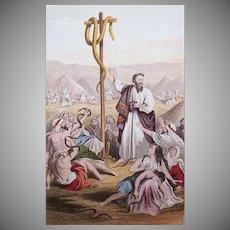 VICTORIAN COLOR PRINT - Book Illustration, The Brazen Serpent