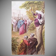 VICTORIAN COLOR PRINT - Book Illustration, Zaucchaeus Called by Christ