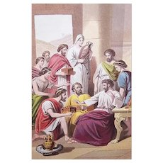 VICTORIAN COLOR PRINT - Book Illustration, Macedonian Christians Pressing Their Gifts on Paul