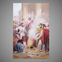 VICTORIAN COLOR PRINT - Book Illustration, Ephesians Burning Their Books