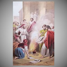 VICTORIAN COLOR PRINT - Book Illustration, Ephesians Burning Their Books