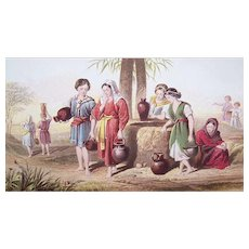 VICTORIAN Chromolithograph - Religious, The Dearth of Water