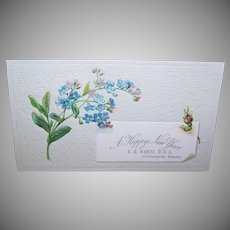 VICTORIAN Trade Card - Blue Forget Me Nots, E.A. Hertz, DDS - A Happy New Year