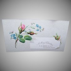 VICTORIAN Trade Card - Pink Rose, E.A. Hertz, DDS - A Merry Christmas