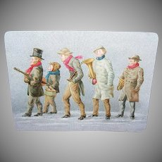 VICTORIAN Trade or Greeting Card - Minstrels in the Cold Weather