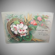 VICTORIAN Trade Card - Dry Goods, Horseshoe, Florals, B.A. Welch, Green, New York