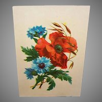 Dated 1883 VICTORIAN Chromolithograph - Red Poppies, Blue Anemones