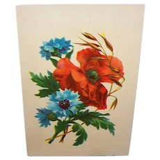 Antique Victorian Chromolithograph Red Poppies Blue Anemones Dated 1883