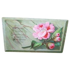 VICTORIAN Greeting Card - Calling Card, Pink Camellia, Merry Christmas