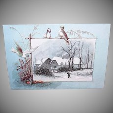 VICTORIAN Greeting Card - Winter Scene, Farmhouse, Birds, Black, Blue