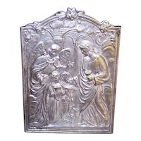 French Silver Art Deco Religious First Communion Souvenir - Embossed Metal with Easel