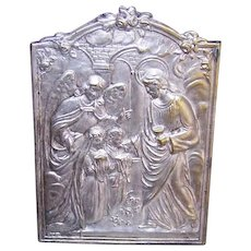 ART DECO Religious Souvenir - Embossed Metal, Stand Up, First Communion, Guardian Angel