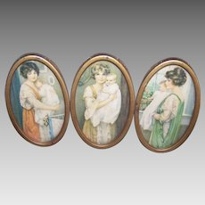 ART DECO Triptych Frame - 3 Diff Mothers with Babies, Prints, Gilt Metal