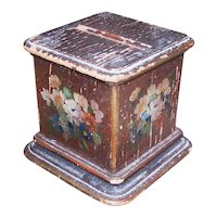 Art Deco Handpainted Florals Wooden Cigarette Holder - Pedestal Stand   Shabby Chic Patina