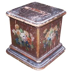 Art Deco Handpainted Florals Wooden Cigarette Holder - Pedestal Stand | Shabby Chic Patina