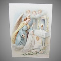 ART DECO Celluloid Print - French, First Communion, Young Girl, Guardian Angel