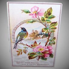 VICTORIAN Greeting Card - Bluebird, Winter Scene, Happy Christmas