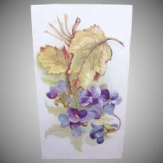 VICTORIAN Color Print - Embossed, Violets, Unused, Trade Card