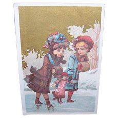 VICTORIAN Chromolithograph - Winter Scene, Girls, Skating on a Pond, With Doll