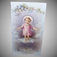 VICTORIAN Greeting Card - Infant Jesus, Celluloid, Christmas, Pastels