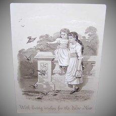 VICTORIAN Greeting Card - Happy New Year, Children, Birds, Beige & Black