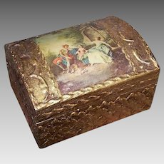 Vintage WOOD BOX - Florentia, Made in Italy, Gold, Gesso, Courtly Trio Print