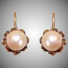 Antique Edwardian 18K GOLD Earrings - 8mm, Cultured Pearl, European, Pierced, French Hook