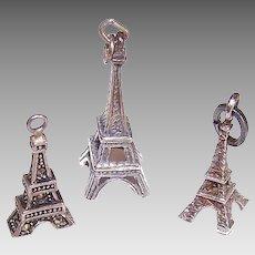 3 VINTAGE Sterling Silver Charms - Eiffel Tower, Paris, France, Souvenir