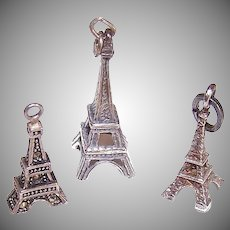 3 VINTAGE Sterling Silver Charms - Eiffel Tower, Paris, France, Souvenir