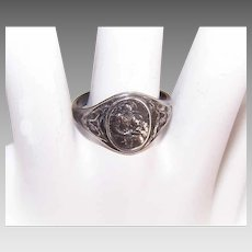 Vintage STERLING SILVER Ring - Religious, Saint Anne, Infant Virgin Mary, Size 9