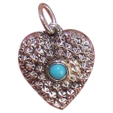 Vintage STERLING SILVER Charm - Puffy Heart, Repousse, Turquoise Cab