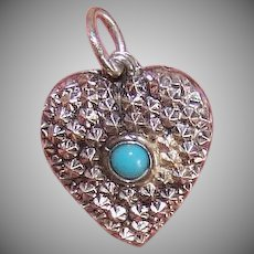 Vintage STERLING SILVER Charm - Puffy Heart, Repousse: Turquoise Cab