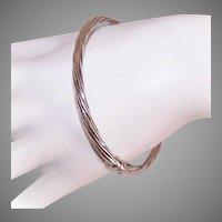 Italian Sterling Silver Ribbed Bangle Bracelet
