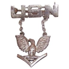 Vintage STERLING SILVER Pin - US Navy, Eagle, Military, 2 Piece, Brooch