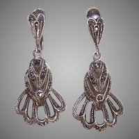 Vintage STERLING SILVER Earrings - Marcasite, German, Screwbacks