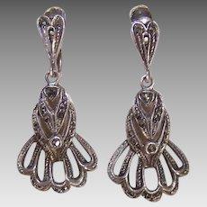 Vintage STERLING SILVER Earrings - Marcasite, German, Screwbacks