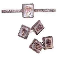 Vintage 835 SILVER Tie Pin & Cufflinks Set - Shell Cameo, European - Red Tag Sale Item
