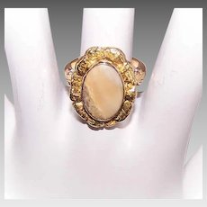 ANTIQUE VICTORIAN 14K Gold Ring - Natural Gold Nuggets, Petrified Wood