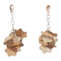 Made in Italy Italian 14K Gold Drop Earrings - Bunch of Leaves
