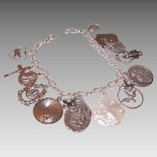 Vintage STERLING SILVER Charm Bracelet - 15 Charms, Religious, First Communion