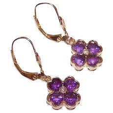 Vintage 14K GOLD Earrings - Amethyst, Diamond, Drops, Pierced, French Earwires