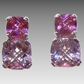 Vintage 14K GOLD Earrings - White Gold,  7CT TW, Pink, Lavender, Tourmaline, Pierced, Studs