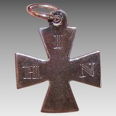Vintage STERLING SILVER Pendant - Maltese Cross, Dated 1886, Religious, In His Name