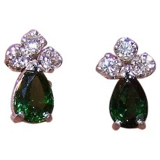 Vintage 14K GOLD Earrings - 1.86CT TW, Green Tourmaline, Diamond, Pierced, Posts with Nuts