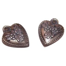 Vintage STERLING SILVER Charms - Pair, Puffy Hearts, Floral Top